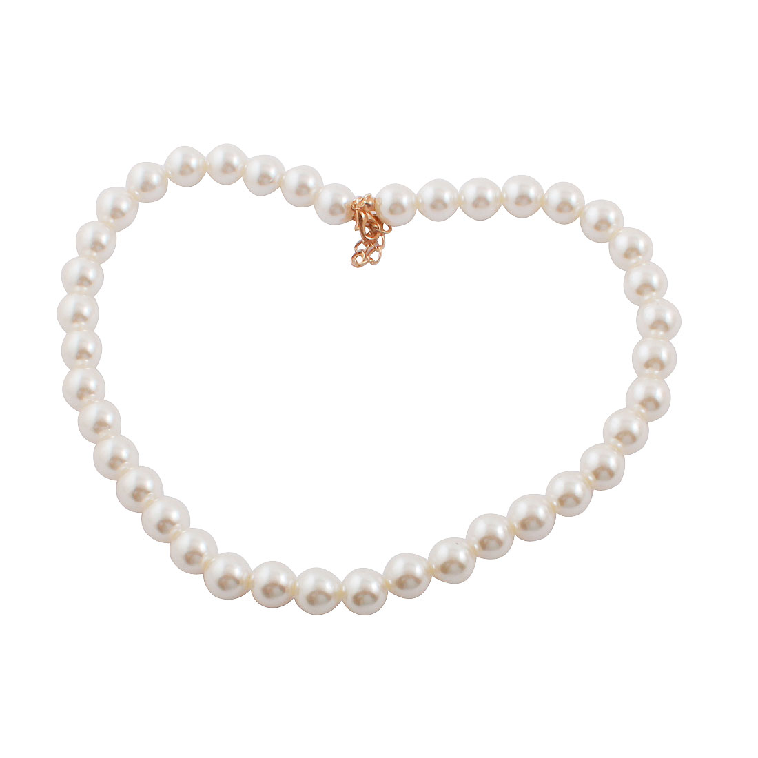 White 12mm Dia Faux Pearl Chain Neck Decoration Necklace for Ladies