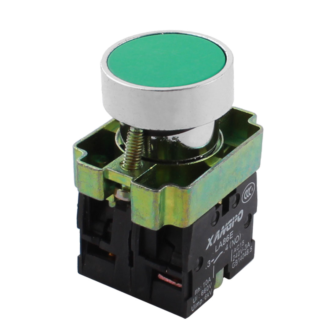 22mm Panel Mounted NO NC Momentary Green Push Button Switch AC 400V 10A