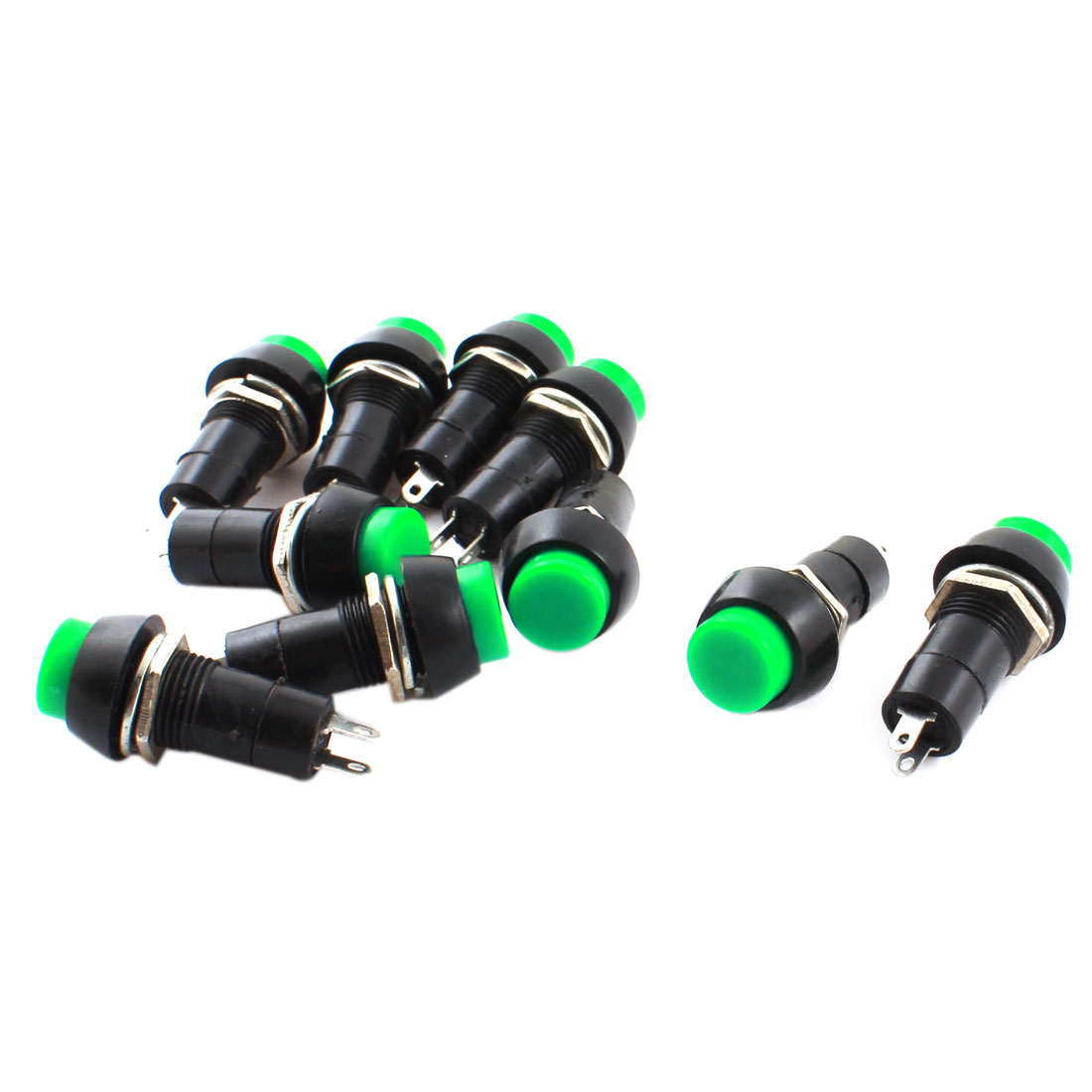 10Pcs SPST Momentary Control Green Push Button Switch AC 250V 3A