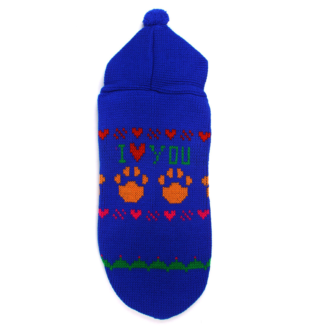 Blue Knit Paw Letter Printed Hoodie Pet Doggy Yorkie Clothes Sweater S