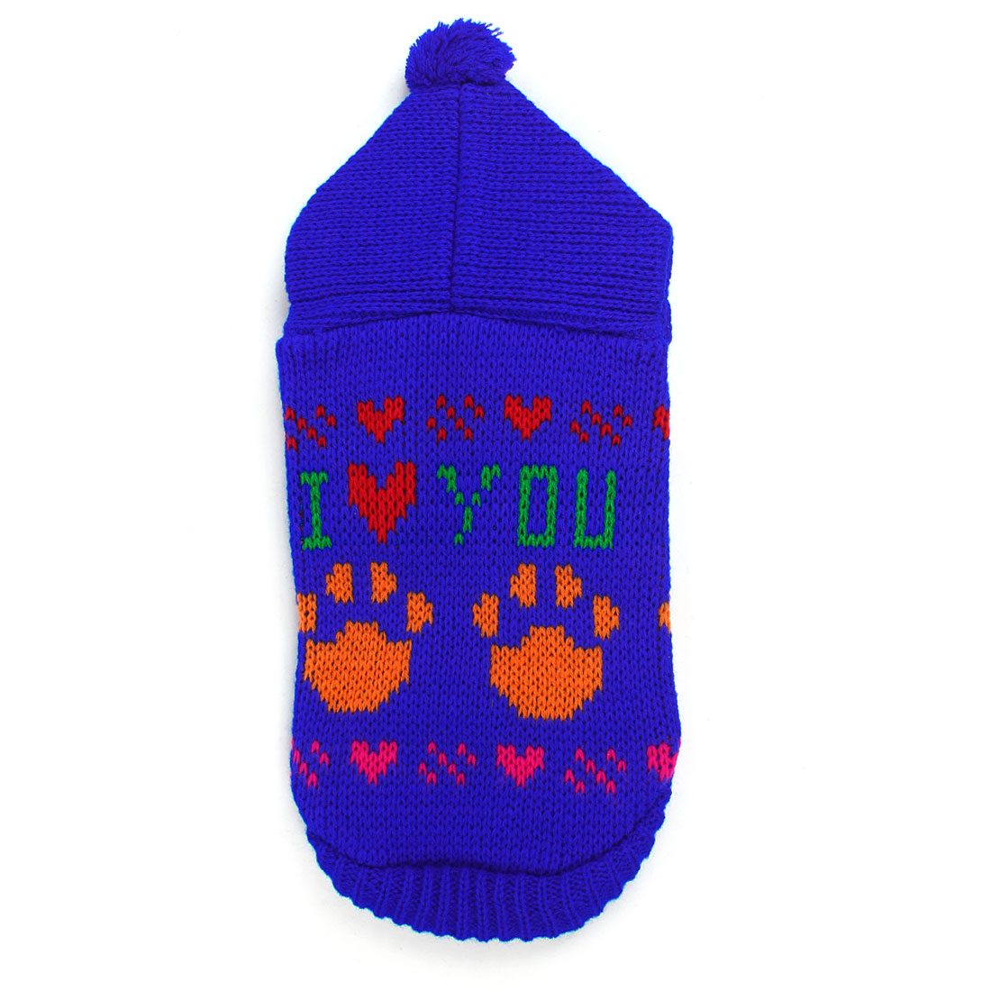 Blue Knitted Paw Letter Printed Hoodie Pet Doggy Yorkie Apparel Sweater XS