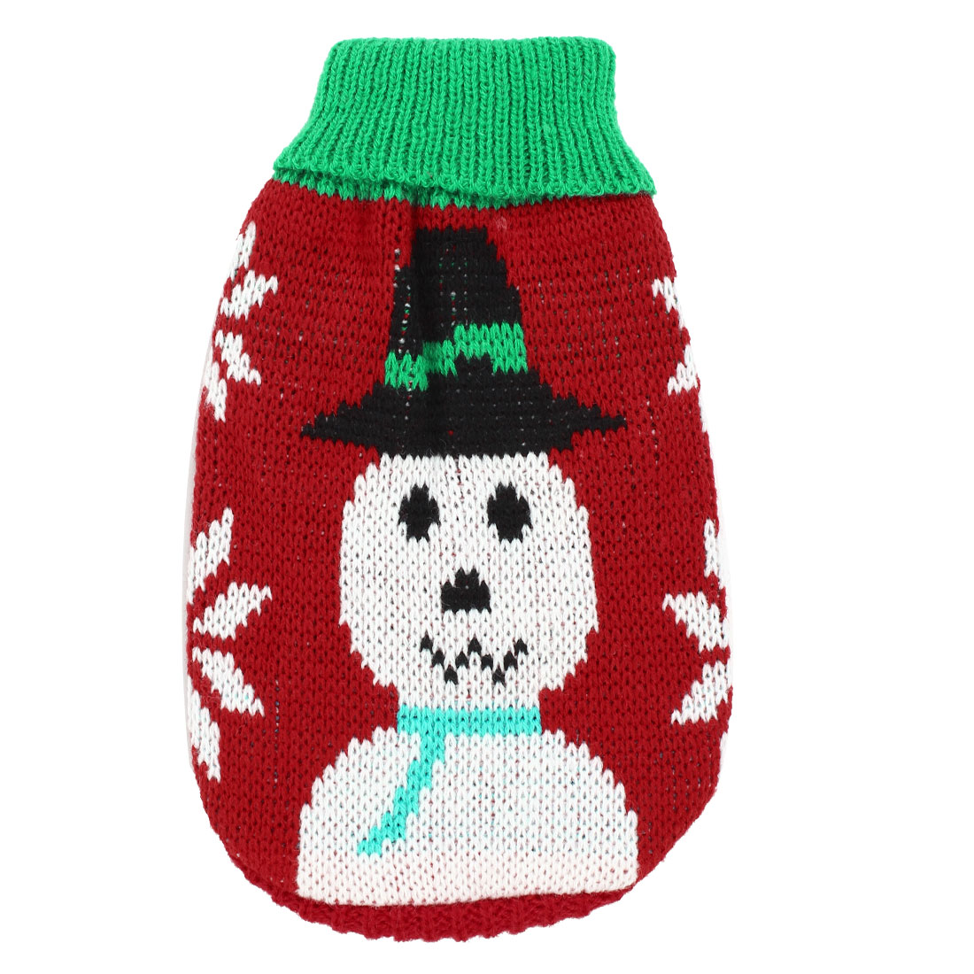 Winter Warm Red White Snowman Printed Pet Clothes Turtleneck Sweater S