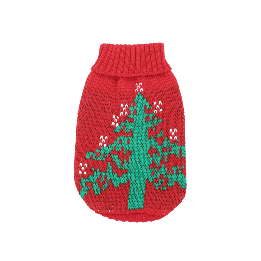 Green Red Knitted Christmas Tree Printed Sleeve Pet Yorkie Apparel Sweater XS