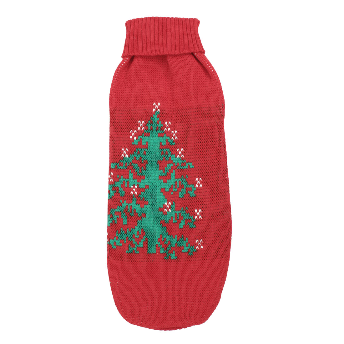 Green Red Knitted Christmas Tree Print Sleeve Pet Dog Apparel Sweater M