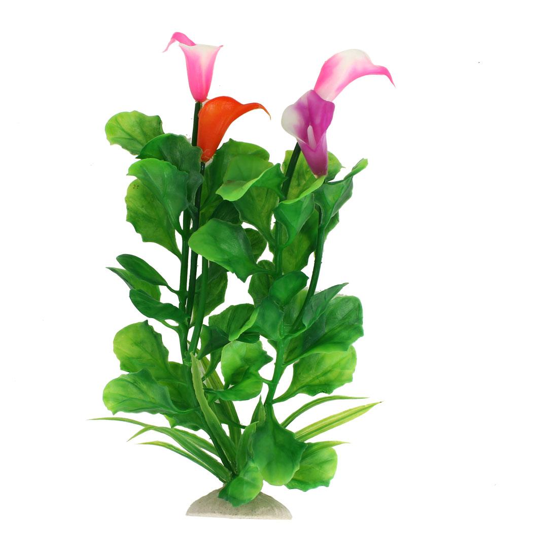 "9.4"" Height Manmade Fuchsia Flower Green Leaf Aquatic Fish Tank Plants Decoration"