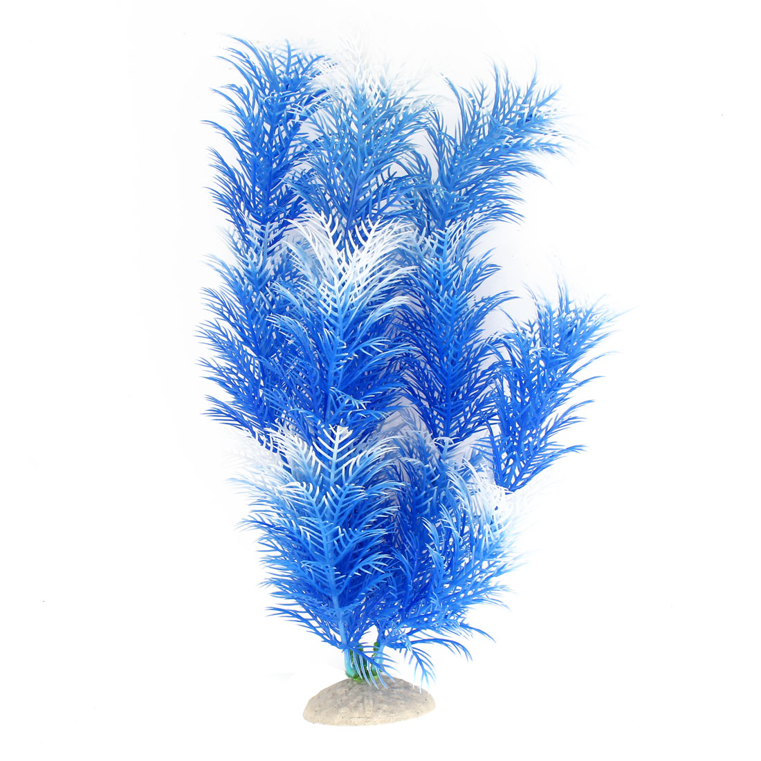 "Blue White 12.2"" Height Fish Tank Plastic Simulation Aquatic Plant Ornament Decor"