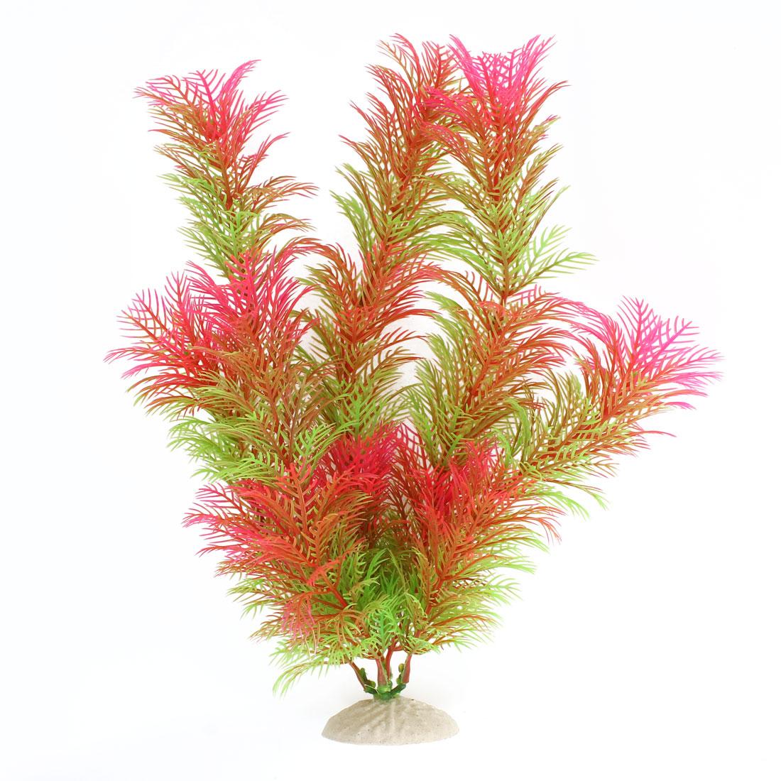 "Green Pink 12.2"" HeightFish Tank Plastic Simulation Aquatic Plant Ornament Decor"