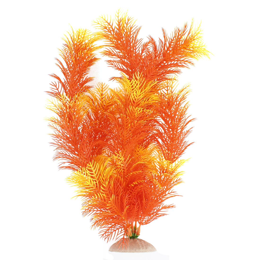 "Yellow Orange 12.2"" Height Fish Tank Plastic Simulation Aquatic Plant Ornament Decor"