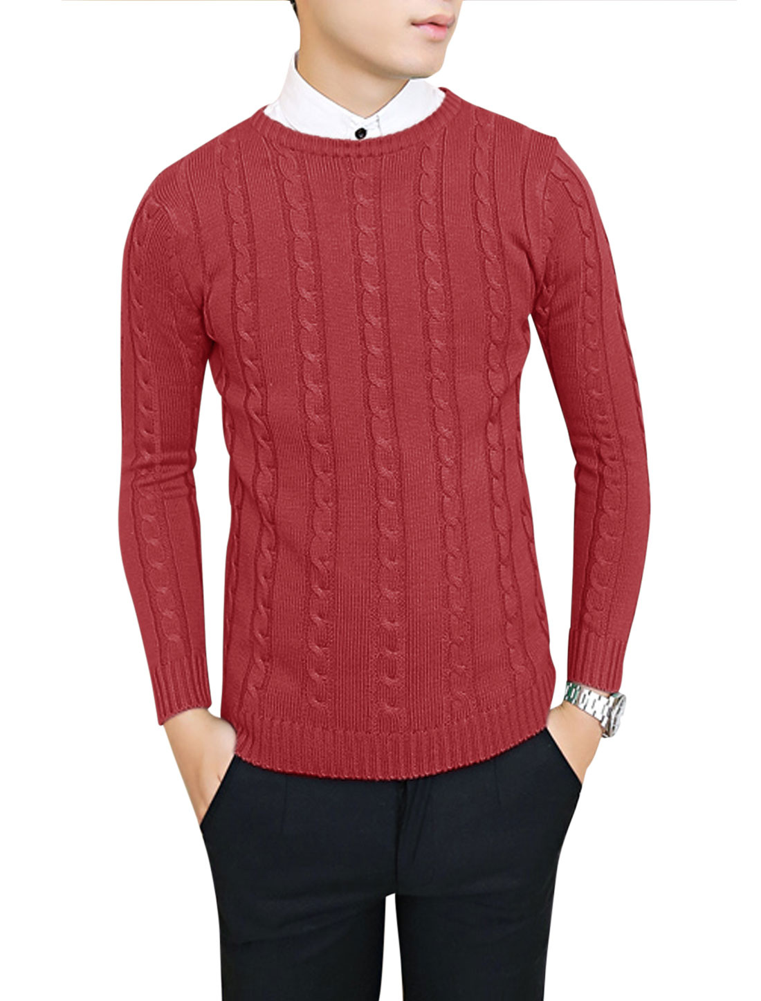 Men Crew Neck Long Sleeve Braided Ribbed Hem Casual Sweater Burgundy S