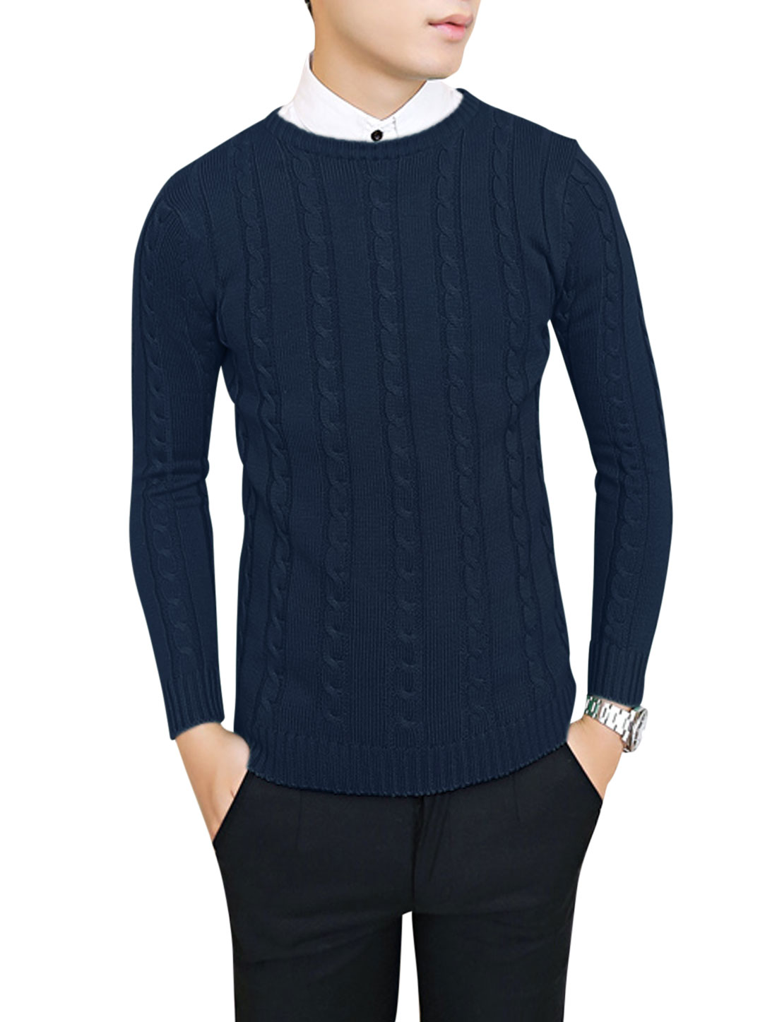 Men Crew Neck Long Sleeve Slipover Leisure Sweater Navy Blue S