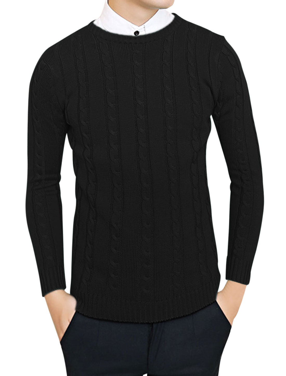Men Crew Neck Long Sleeve Ribbed Cuff Fitting Sweater Black S