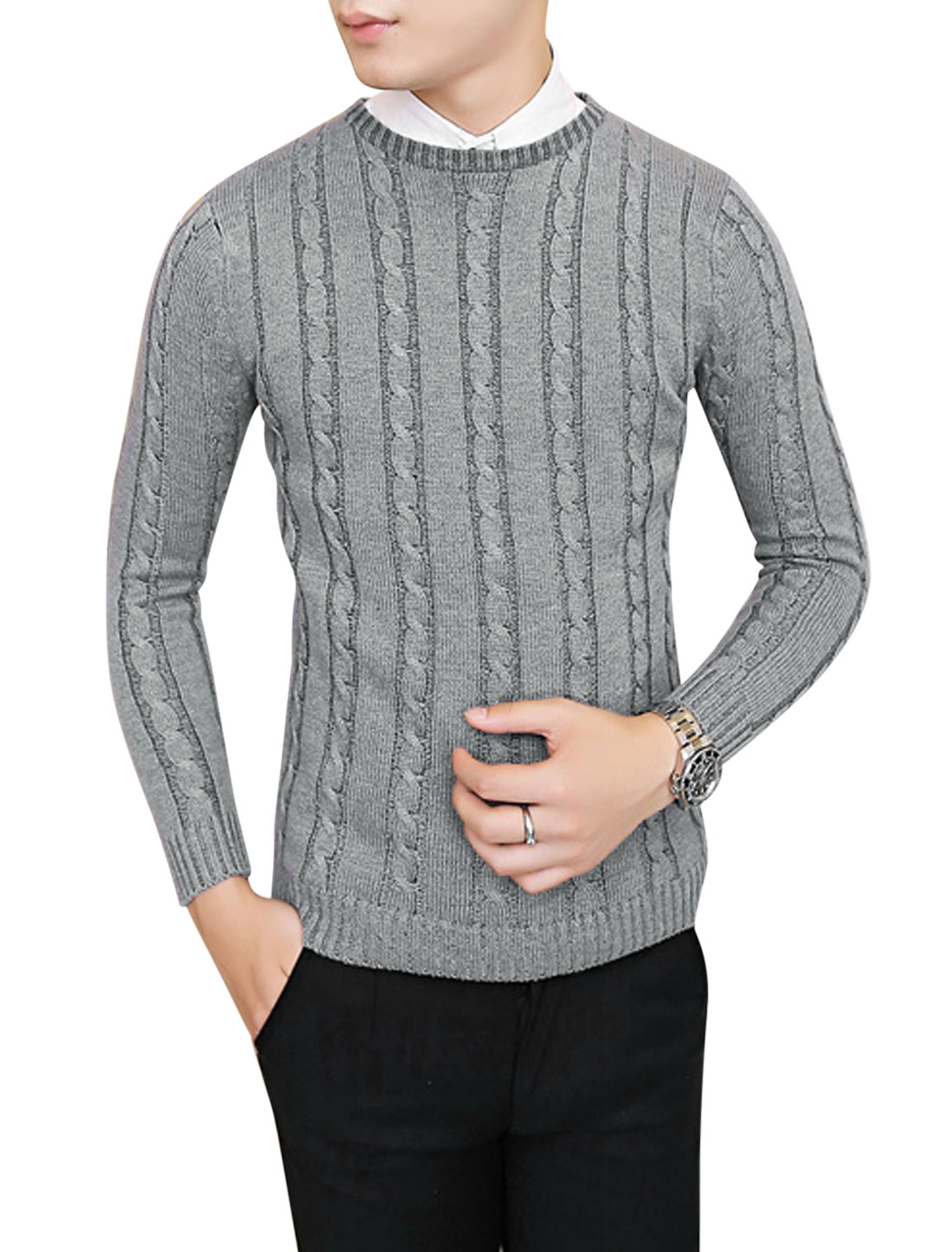 Men Skinny Style Crew Neck Slipover Casual Sweater Gray S