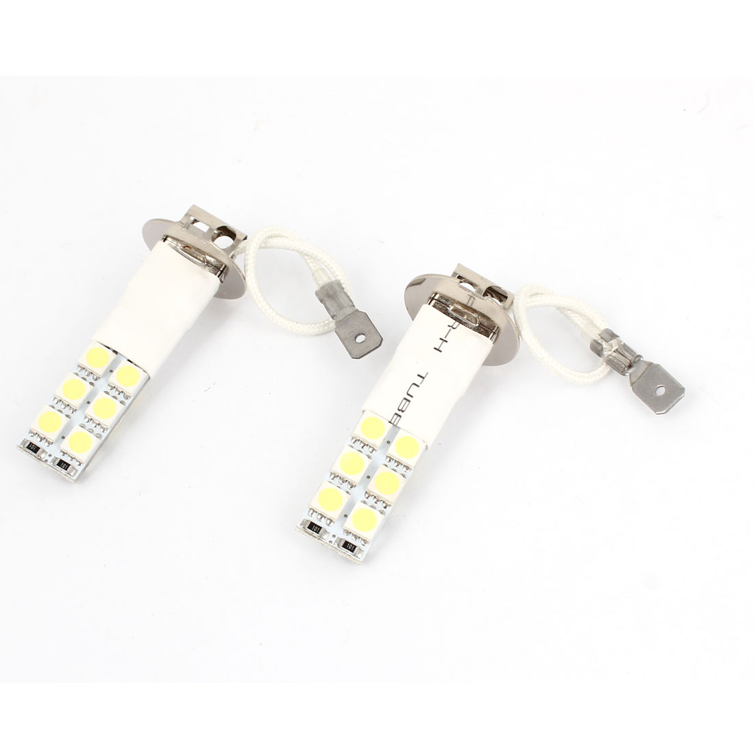 2 Pcs Flash White H3 5050 SMD 12 LED Car Foglight Driving Light Bulb Lamp
