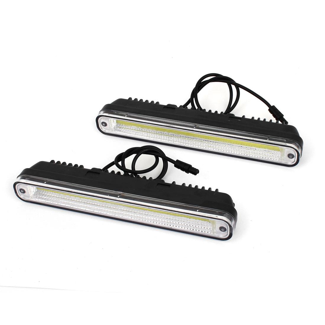 2 Pcs White 12V COB Car DRL Daytime Running Light Strip Fog Lamp