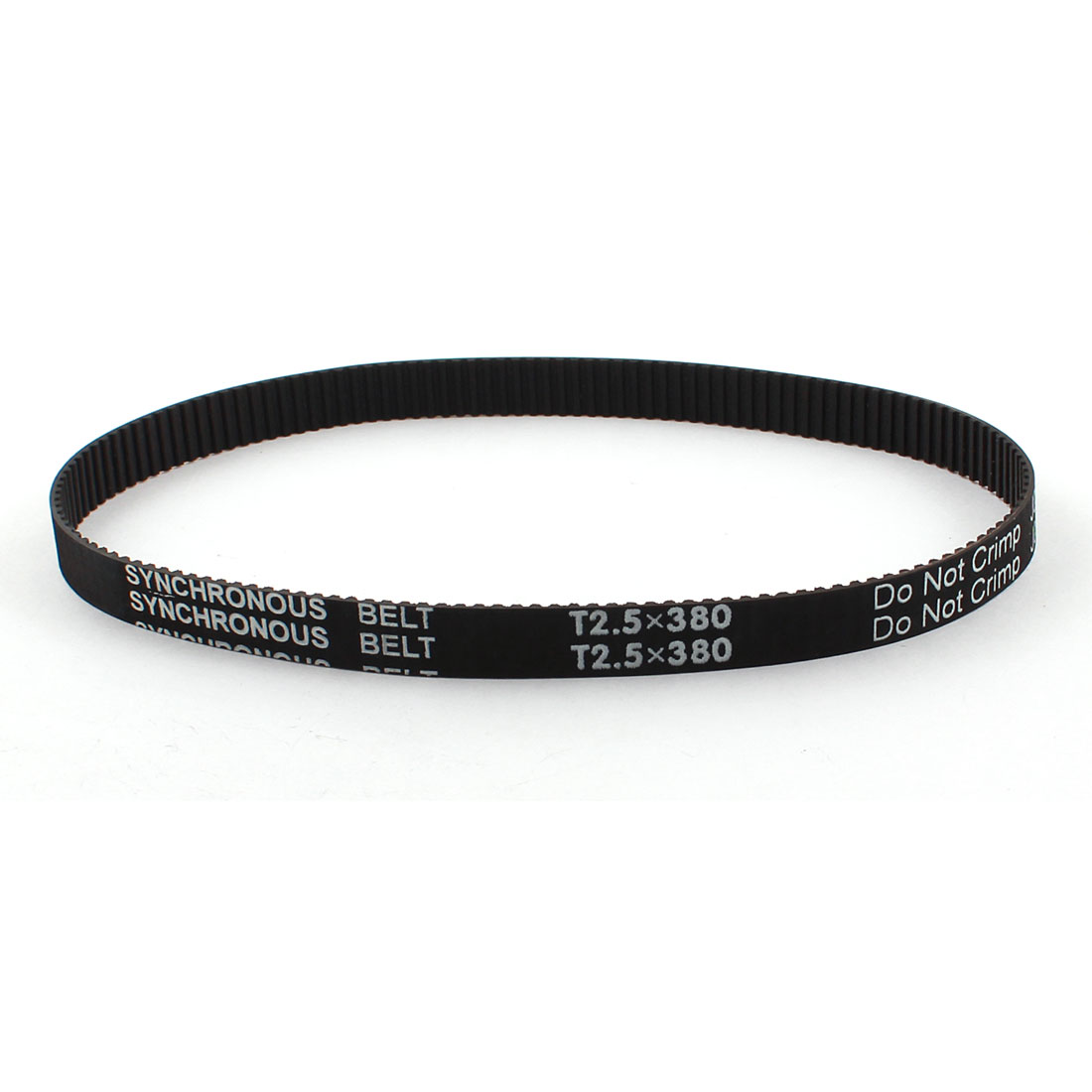 "T2.5x380 152-Teeth 10mm Width 2.5mm Pitch Black Industrial 3D Printer Groove Synchronous Timing Belt 15"" Girth"