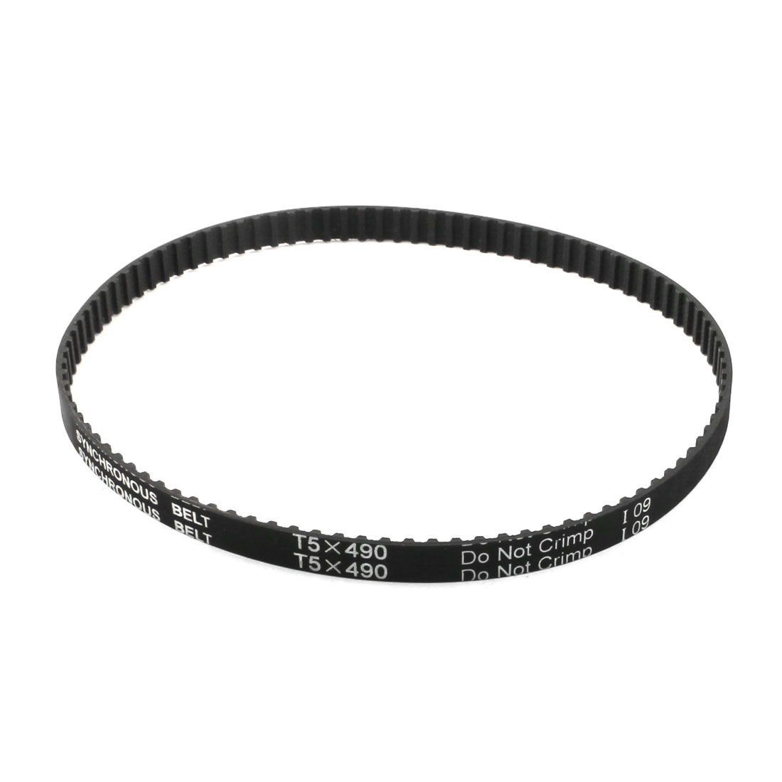 T5x490 98-Tooth 10mm Width Single Side Black Rubber Cogged Industrial CNC Machine Synchronous Timing Belt 490mm Girth