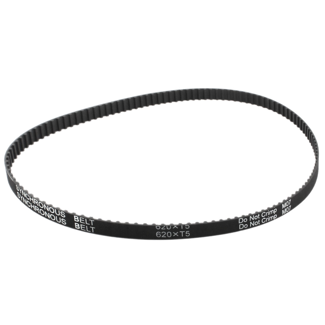 T5x620 124-Tooth 10mm Width Single Side Black Rubber Groove Industrial CNC Machine 3D Printer Synchronous Timing Belt 620mm Girth