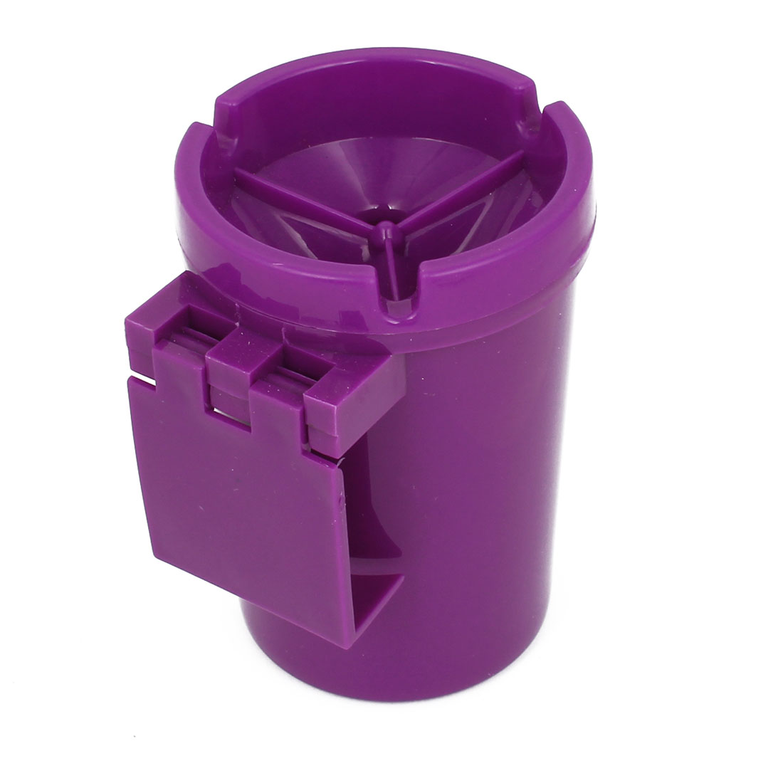 Car Purple Plastic Clip 3 Groove Cup Shape Cigarette Ash Holder Container Ashtray
