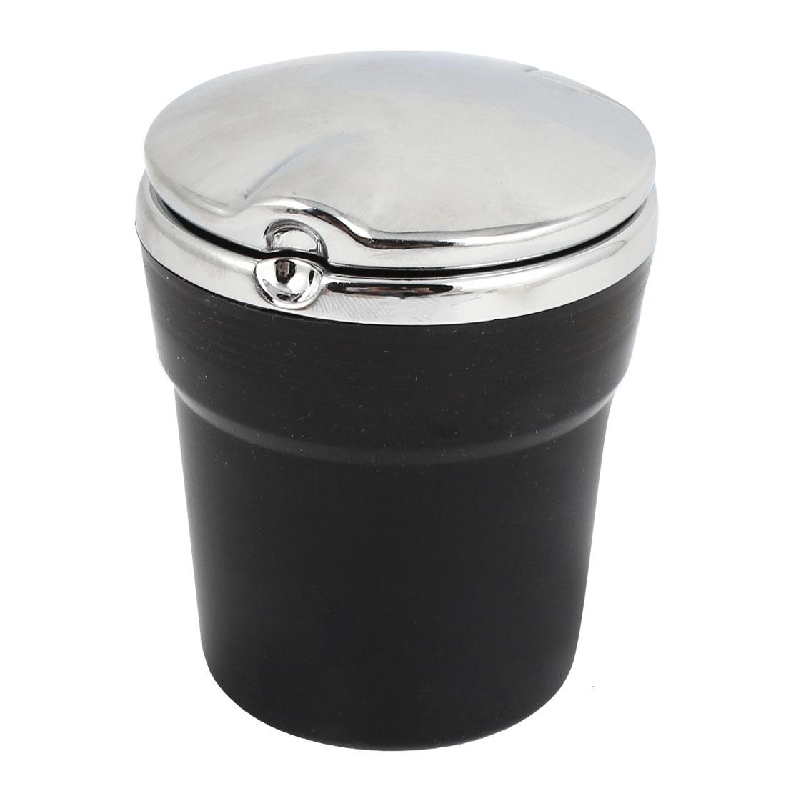 Black Silver Tone Cylinder Shaped Blue LED Light Car Cigarette Ashtray Holder