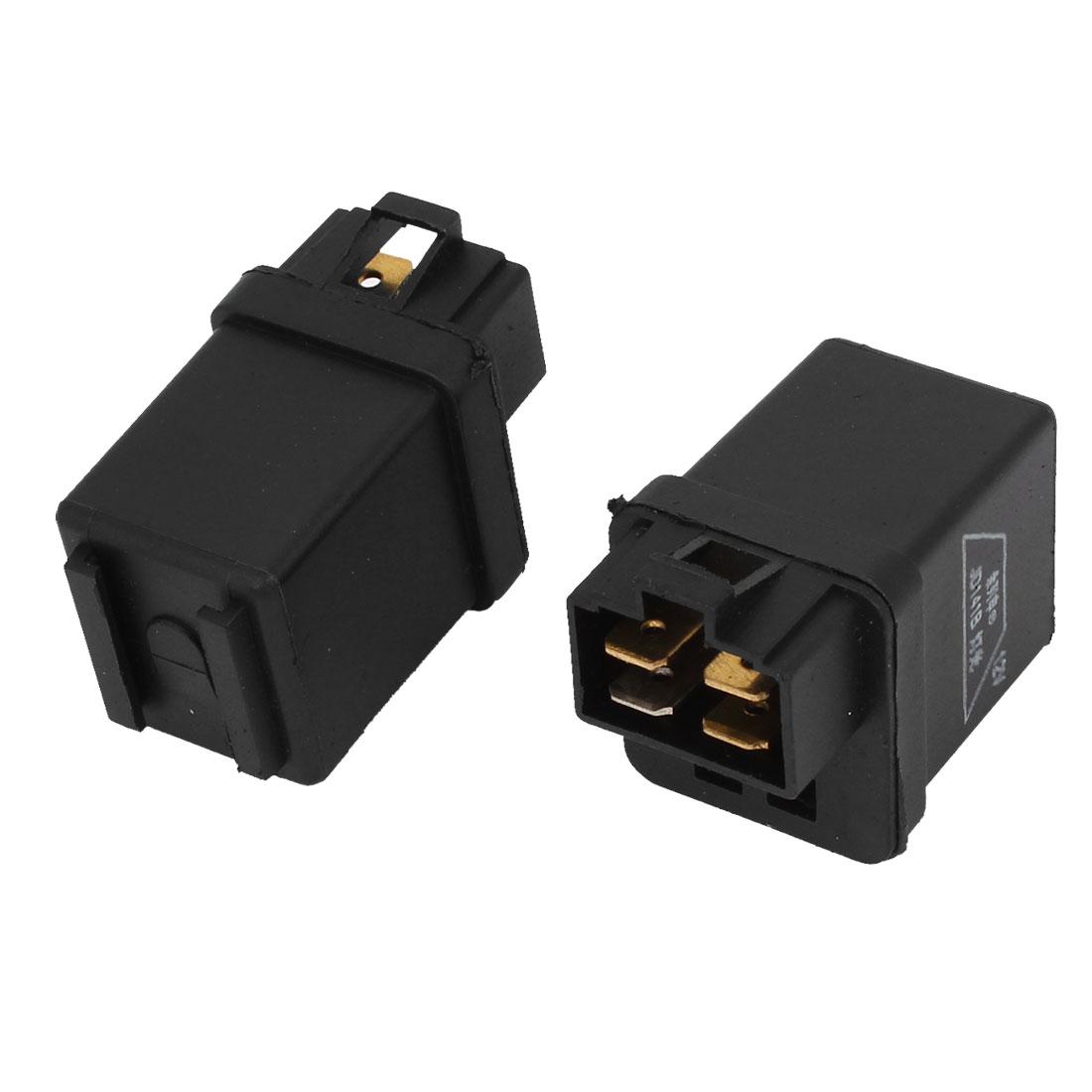2 Pcs Black Plastic 4 Pins SPDT NO Relay DC 12V for Auto Car