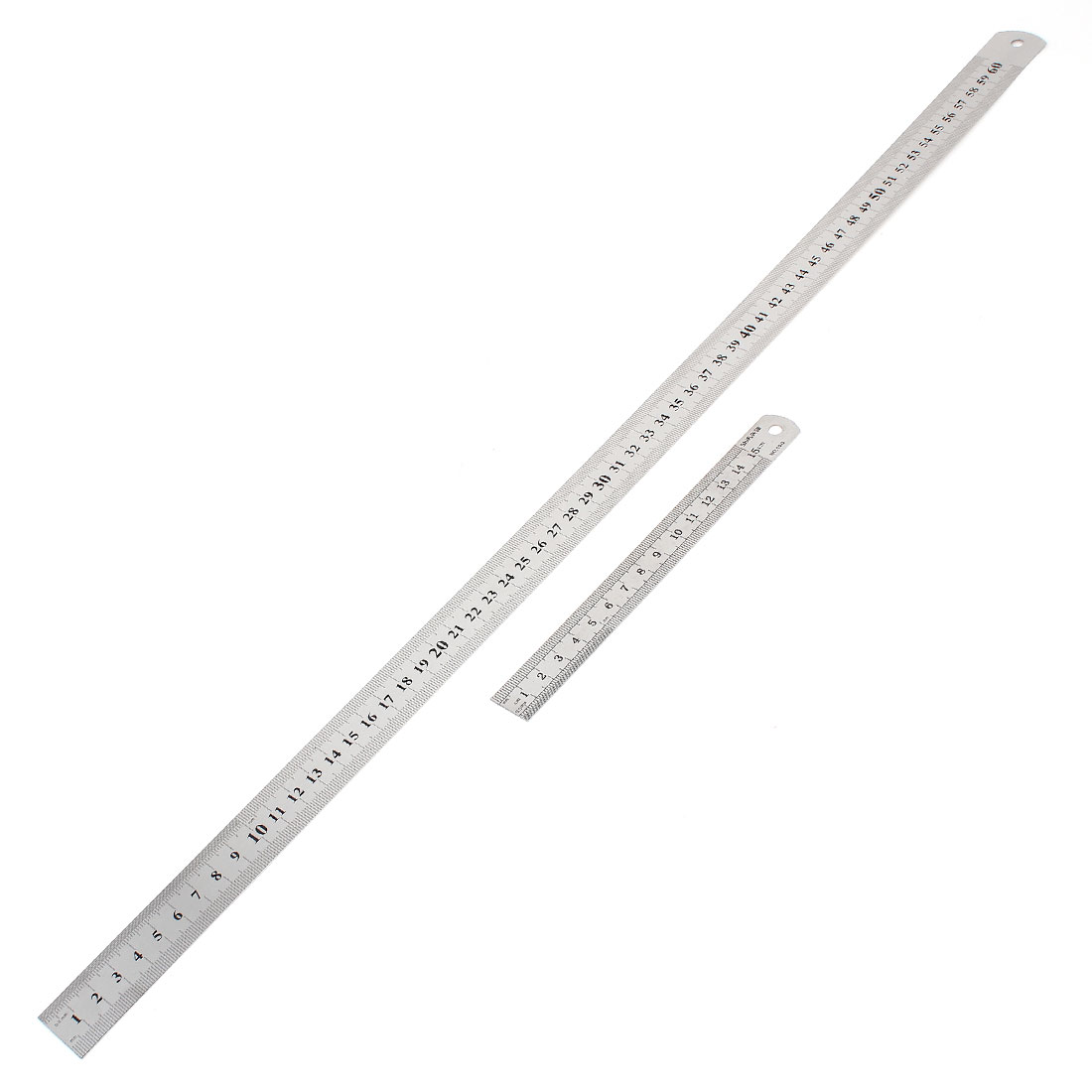 2 in 1 15cm 60cm Double Sides Students Metric Straight Ruler Silver Tone