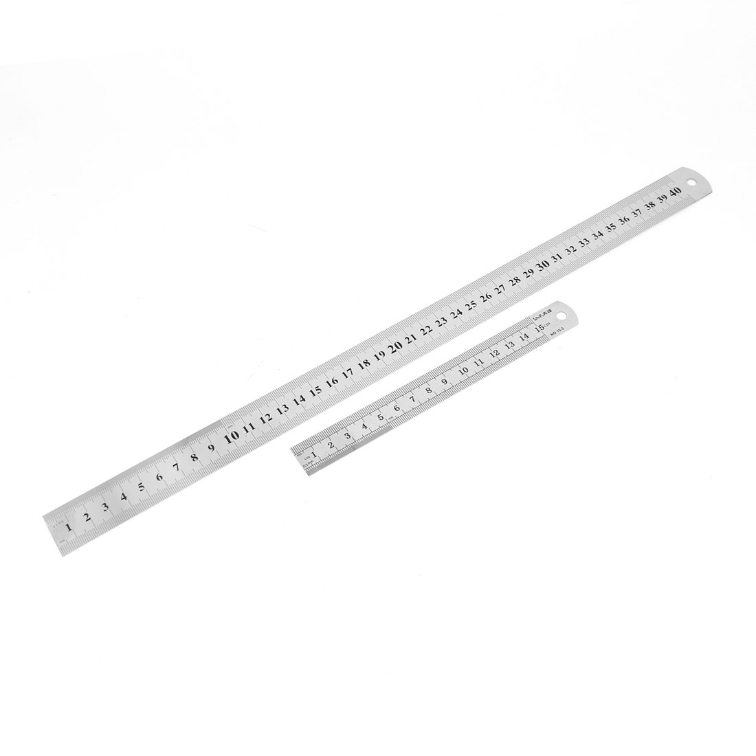 2 in 1 15cm 40cm Double Sides Students Metric Straight Ruler Silver Tone