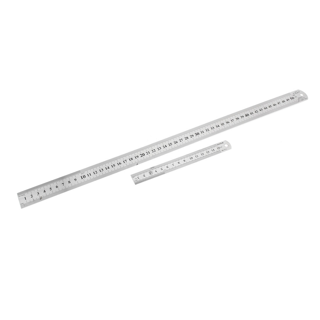 2 in 1 15cm 50cm Double Sides Students Metric Straight Ruler Silver Tone