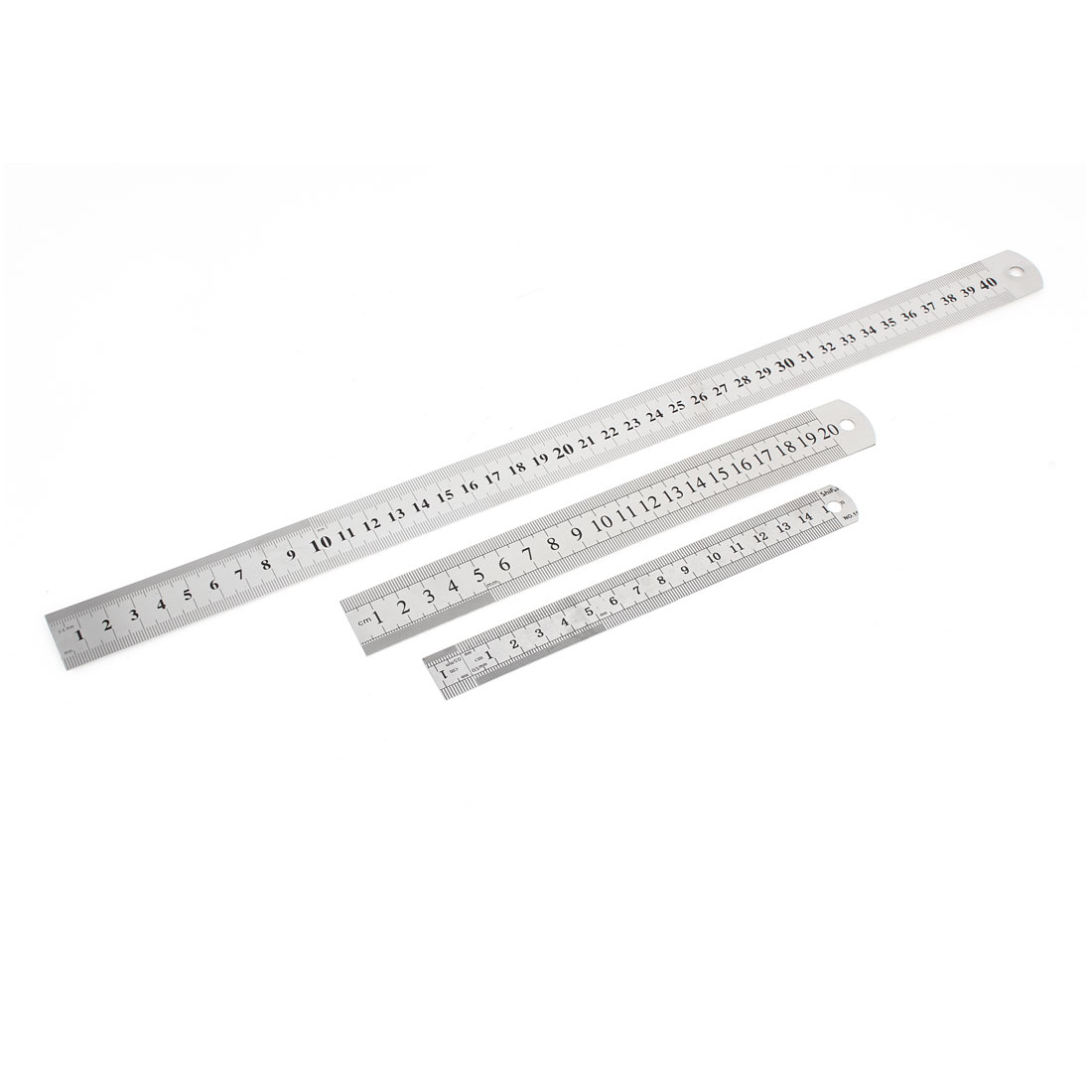 3 in 1 15cm 20cm 40cm Double Sides Students Metric Straight Ruler Silver Tone