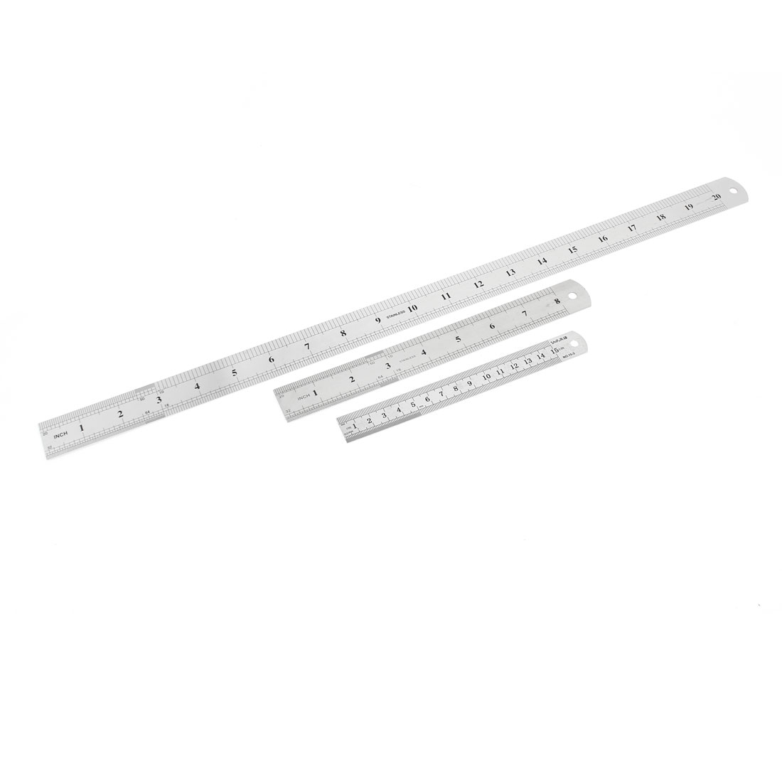 3 in 1 15cm 20cm 50cm Double Sides Students Metric Straight Ruler Silver Tone