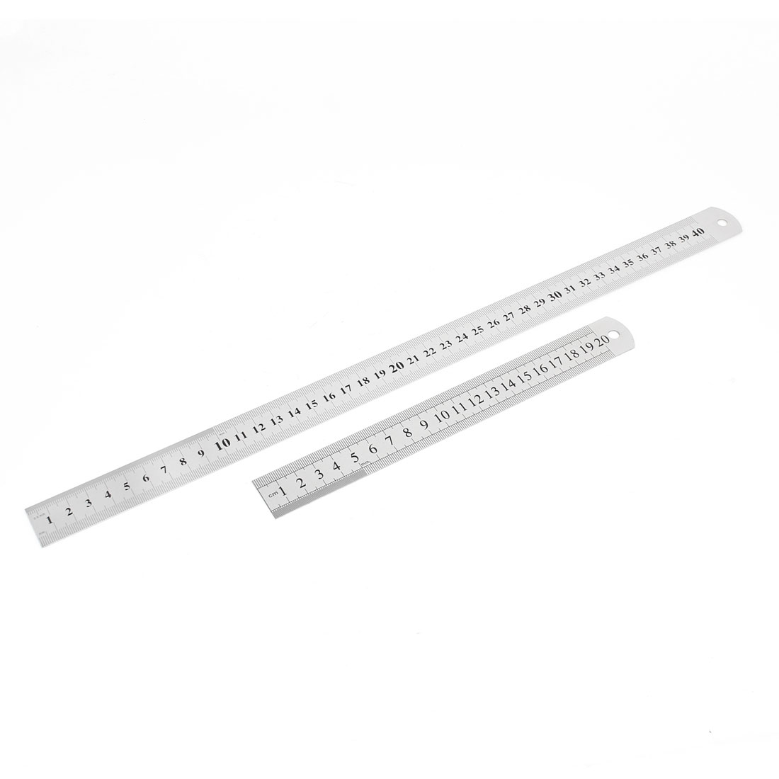 2 in 1 20cm 40cm Double Sides Students Metric Straight Ruler Silver Tone