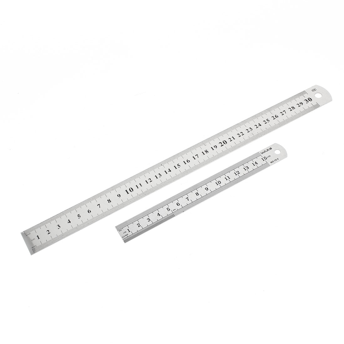 2 in 1 15cm 30cm Double Side Students Metric Straight Ruler Silver Tone