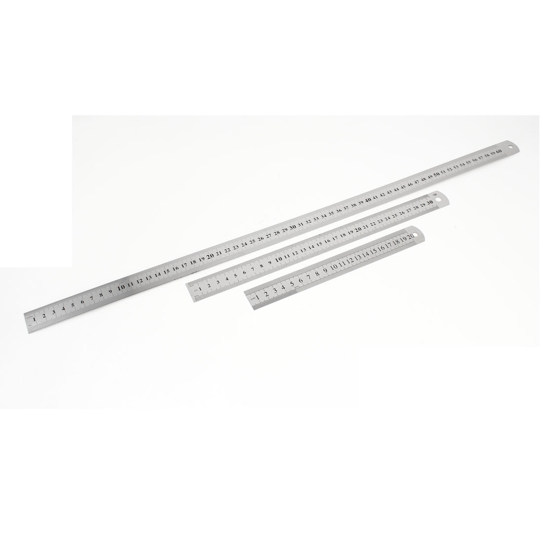 3 in 1 20cm 30cm 60cm Double Side Students Metric Straight Ruler Silver Tone