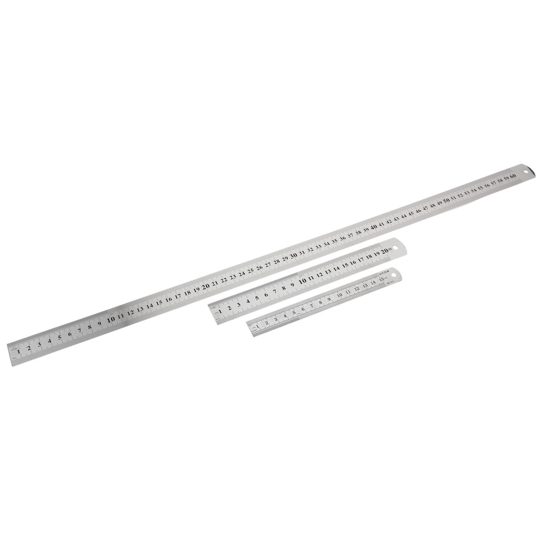 3 in 1 15cm 20cm 60cm Double Sides Students Metric Straight Ruler Silver Tone