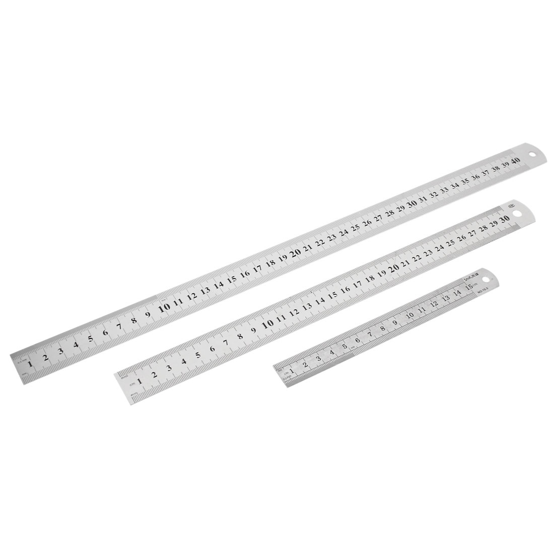 3 in 1 15cm 30cm 40cm Double Side Students Metric Straight Ruler Silver Tone