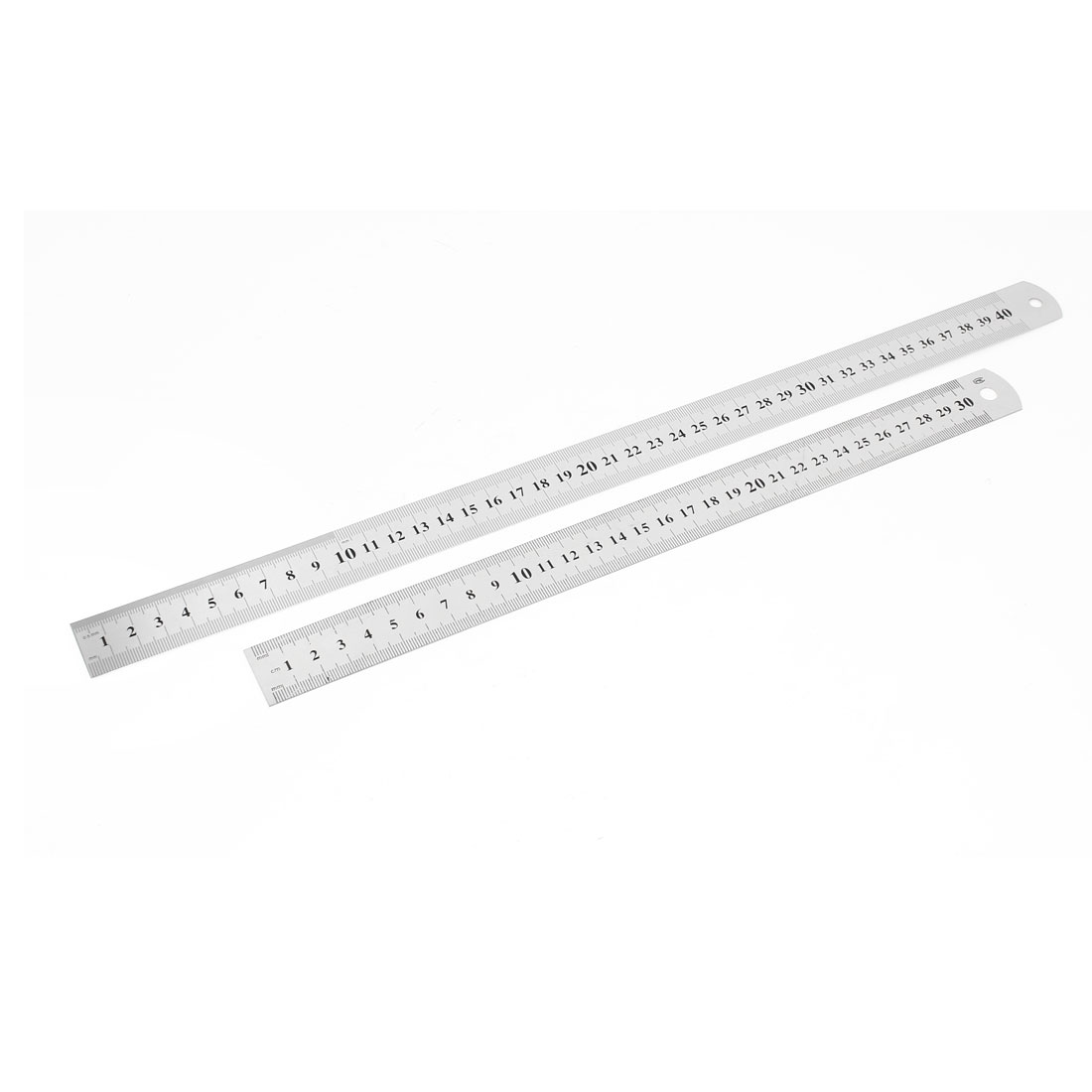 2 in 1 30cm 40cm Double Side Stationery Metric Straight Ruler Silver Tone