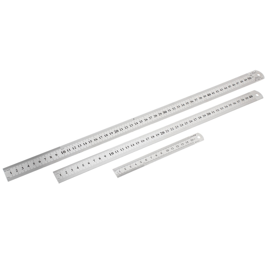 3 in 1 15cm 40cm 50cm Double Sides Students Metric Straight Ruler Silver Tone