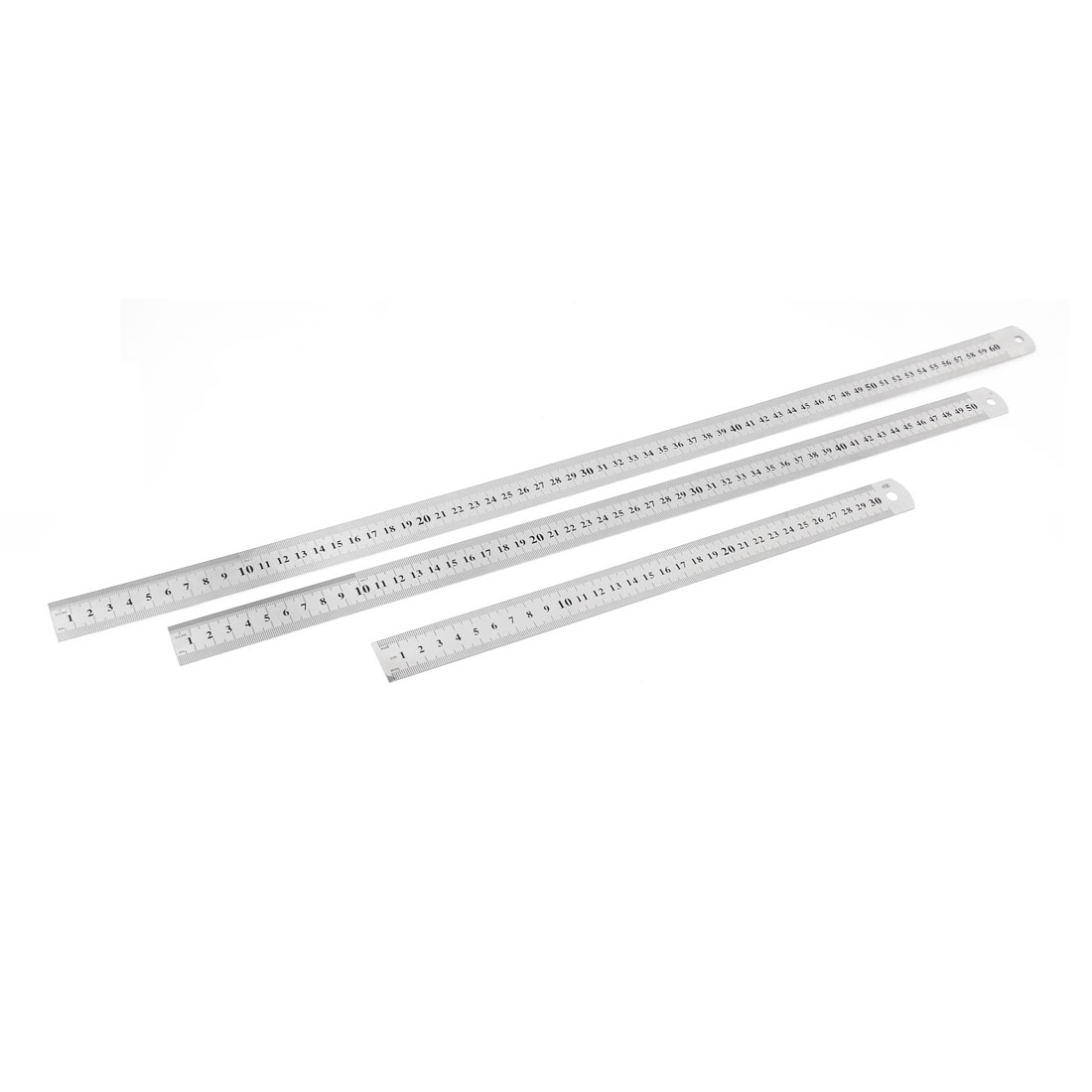 3 in 1 30cm 50cm 60cm Double Side Students Metric Straight Ruler Silver Tone