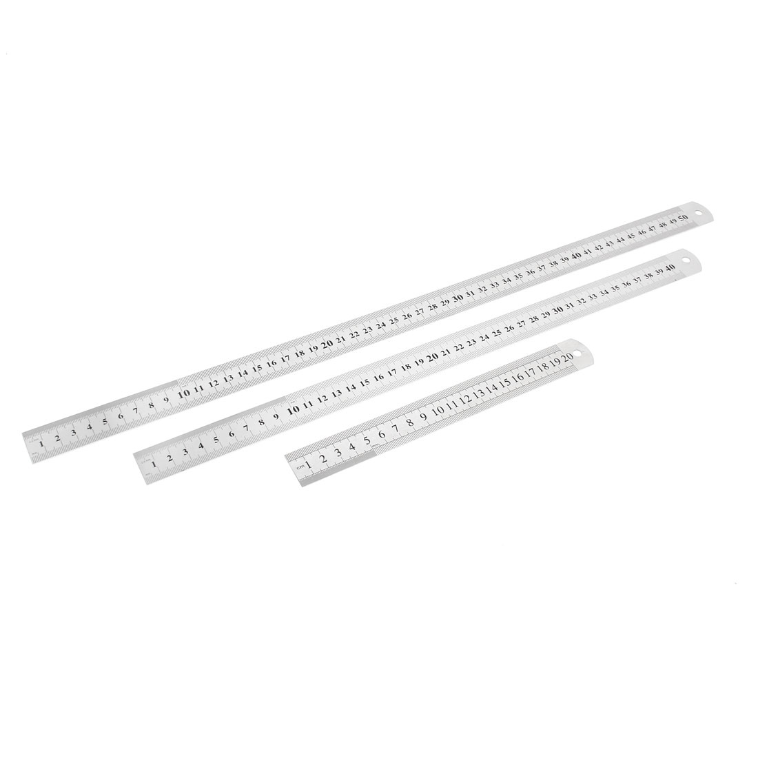 3 in 1 20cm 40cm 50cm Double Sides Students Metric Straight Ruler Silver Tone