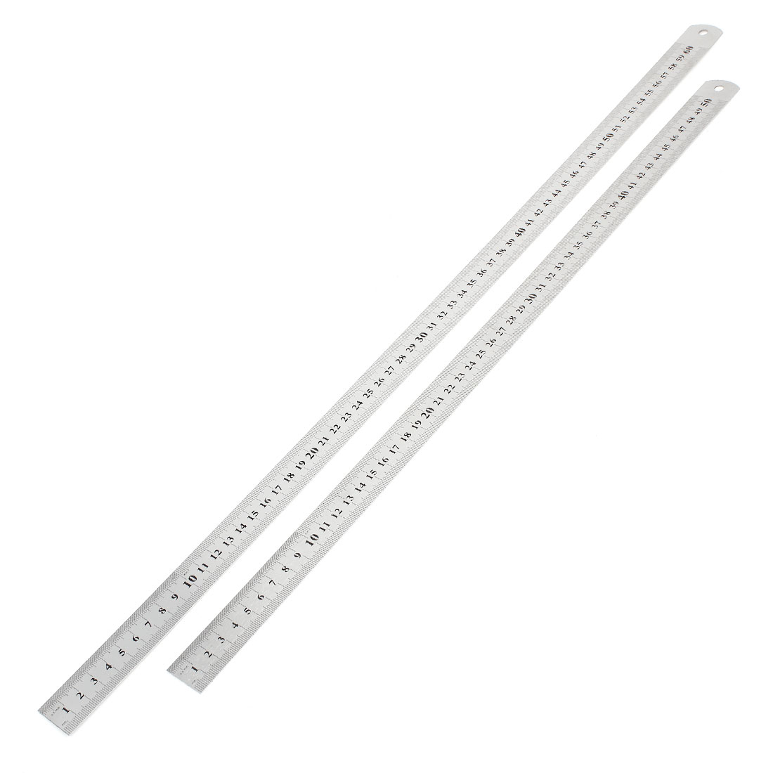 2 in 1 50cm 60cm Double Sides Students Metric Straight Ruler Silver Tone