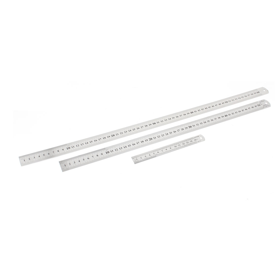 3 in 1 15cm 50cm 60cm Double Sides Students Metric Straight Ruler Silver Tone