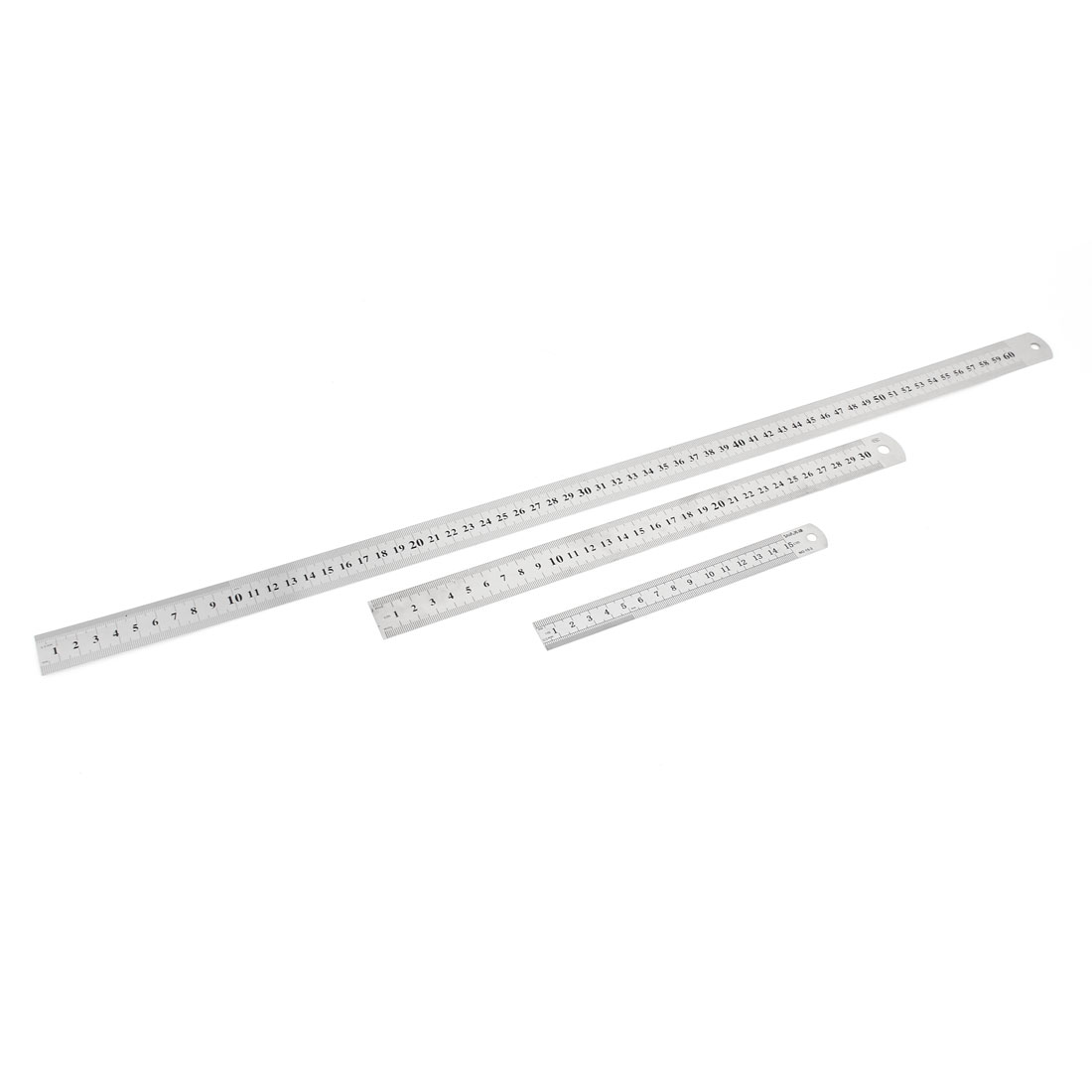 3 in 1 15cm 30cm 60cm Double Side Students Metric Straight Ruler Silver Tone