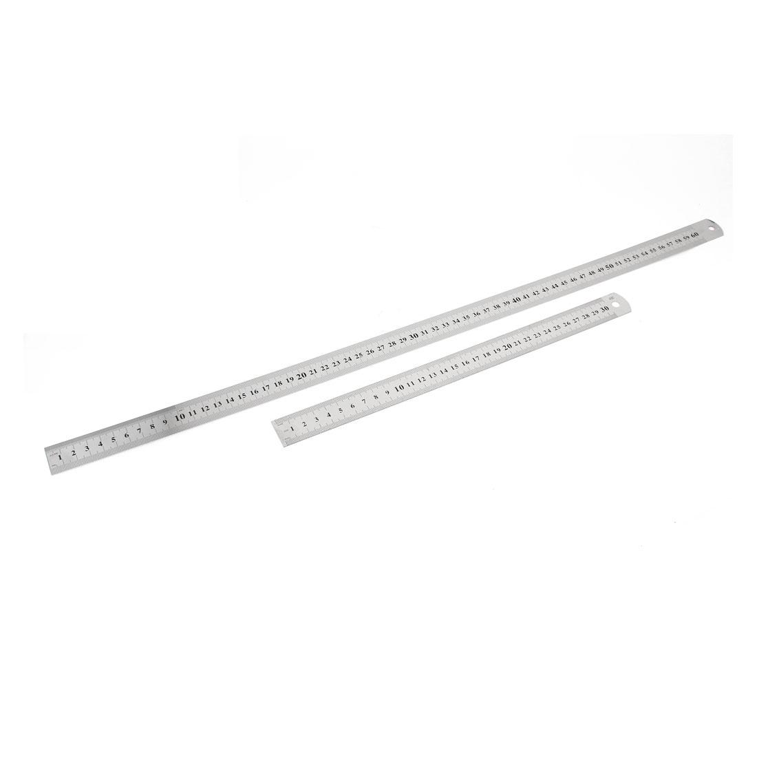 2 in 1 30cm 60cm Measuring Dual Sides School Metric Straight Ruler Silver Tone