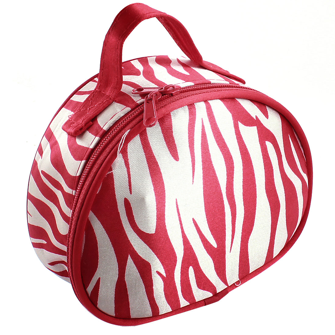White Red Zebra Stripes Pattern Double Zipper Closure Mirror Holder Cosmetic Bag Make Up Pouch Case for Women