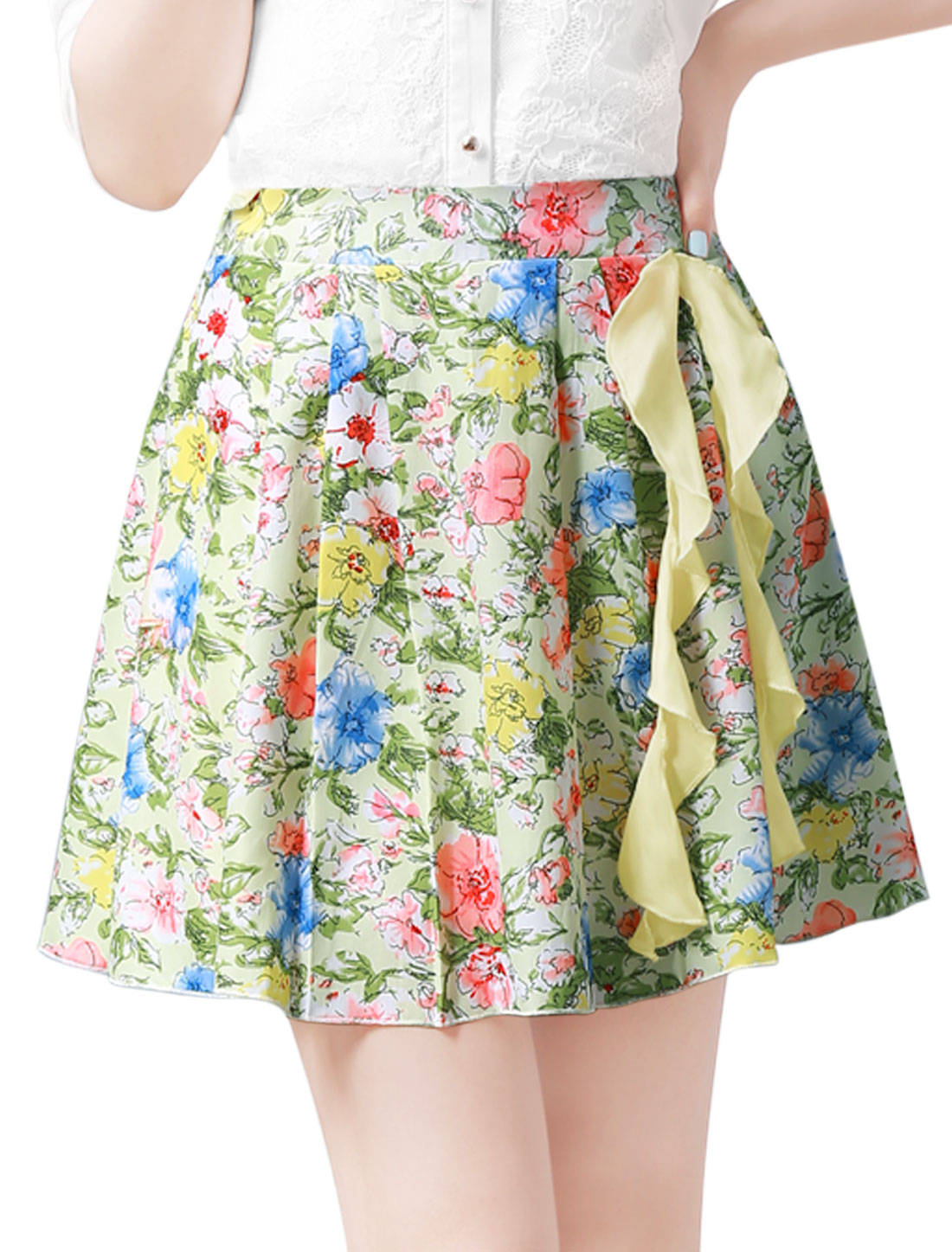 Women Ruffled Embellished Floral Print Sweet Pleated Skirt Multicolor L