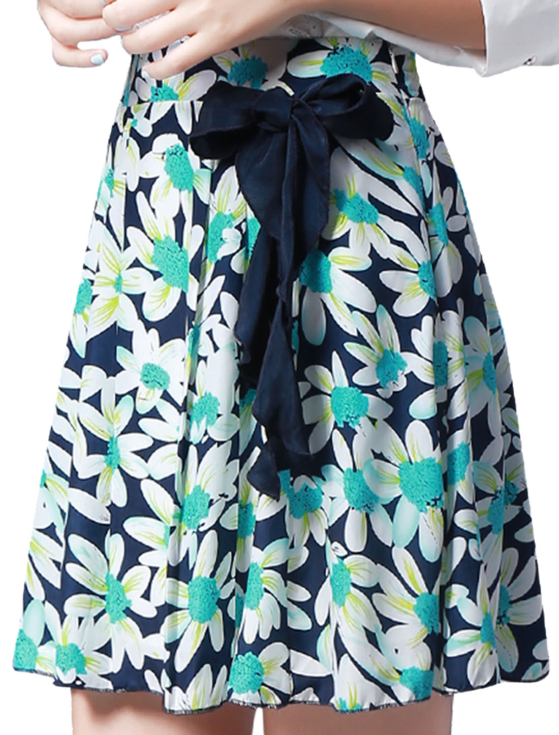 Women Elegant Mid-Rise Lining Flower Pattern Pleated Skirt Navy Blue XL