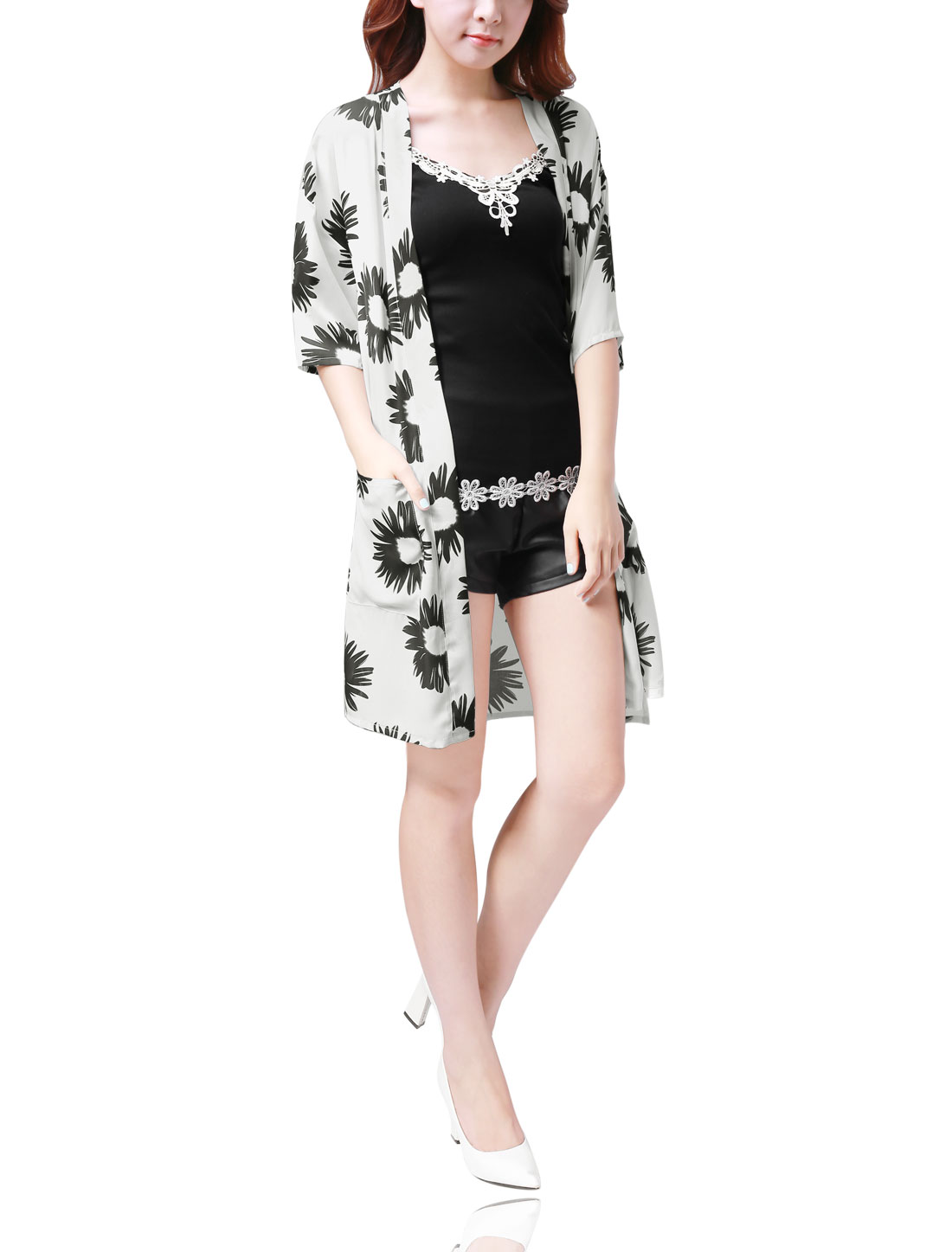 Women Half Sleeves Floral Print Light Long Chiffon Cardigan White M