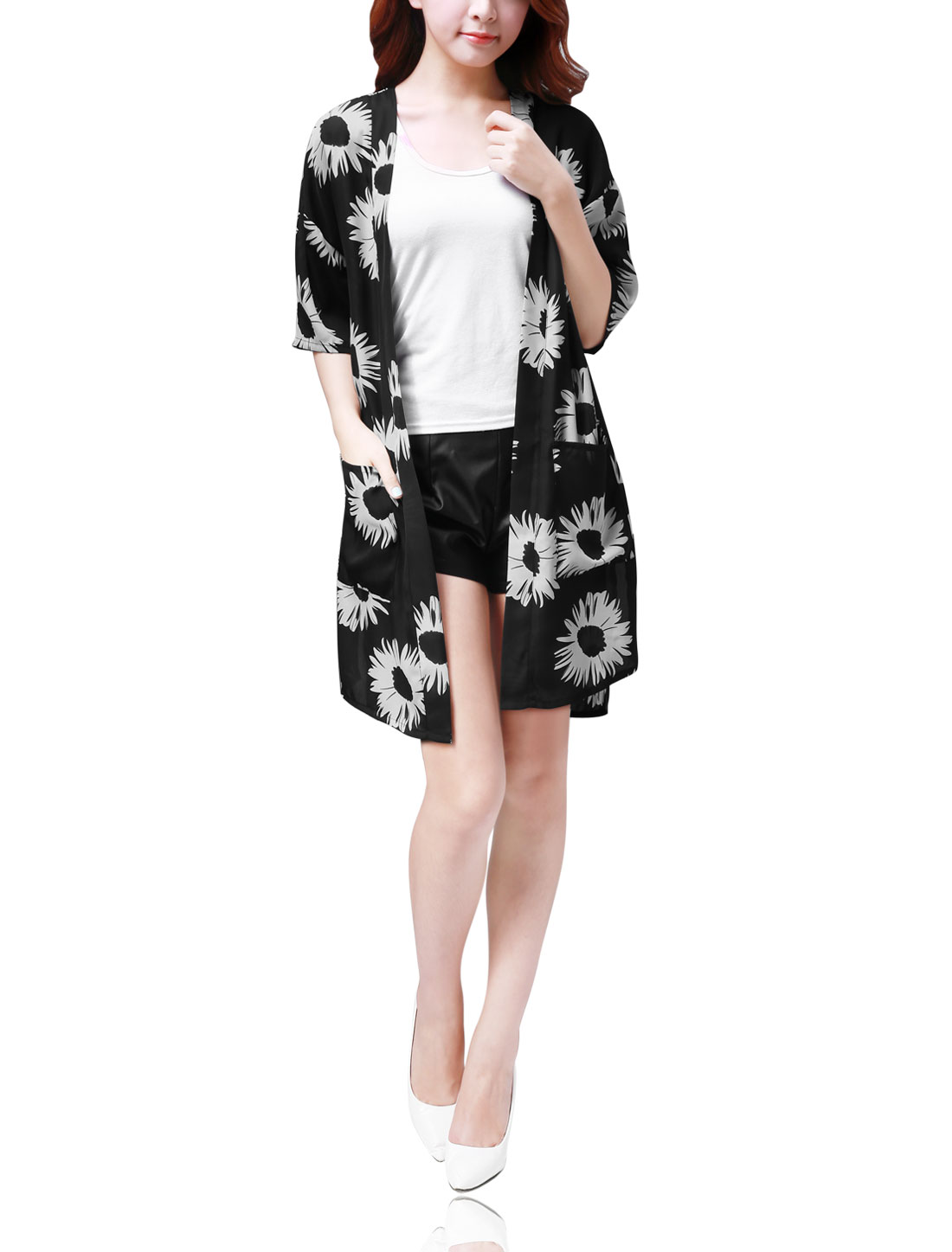 Women Side Slip Sunflower Print Light Long Chiffon Cardigan Black L