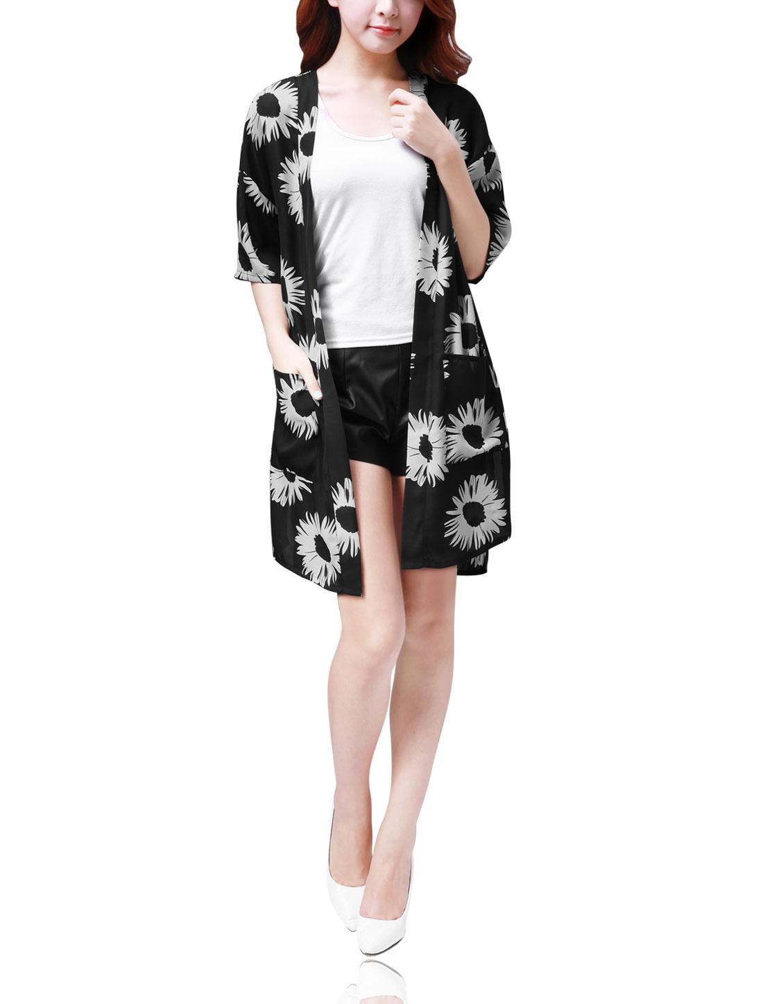 Women Side Split Sunflower Print Light Long Chiffon Cardigan Black XL