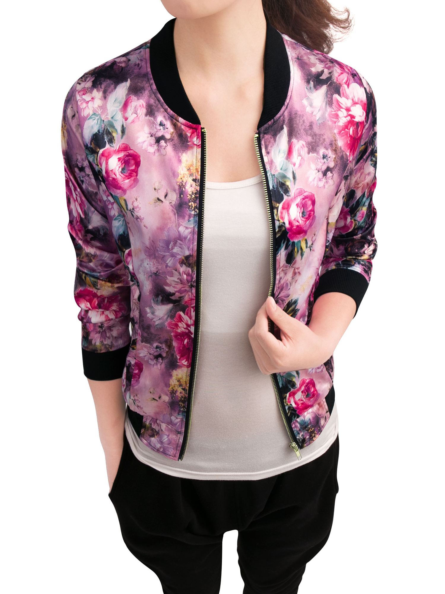 Women Rib Knit Collar Zipper Fly Floral Print Fashion Jacket Fuchsia XS