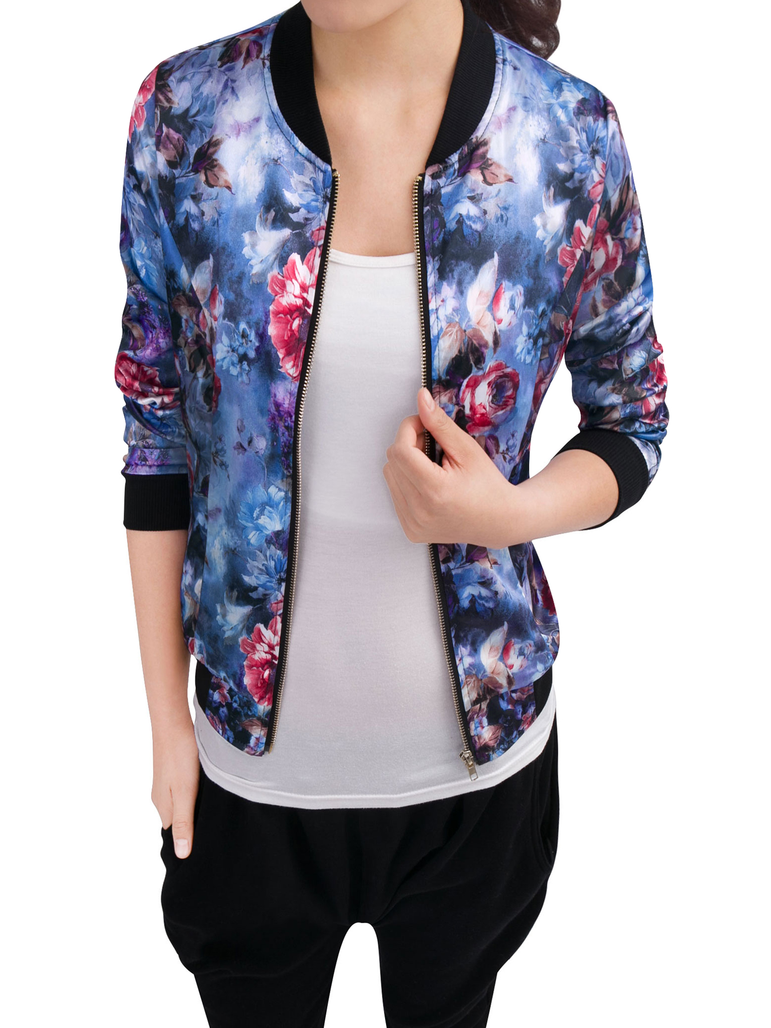 Women Ribbed Cuffs Zipper Fly Flower Print Stylish Jacket Blue M